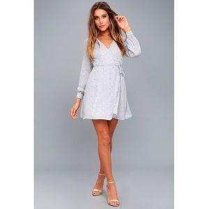 Sale! •nwt• Lulus Grey & Gold Polkadot Wrap Dress